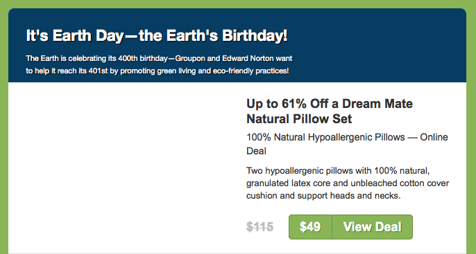 Dear Earth: Happy 400th Birthday! Love, Groupon.