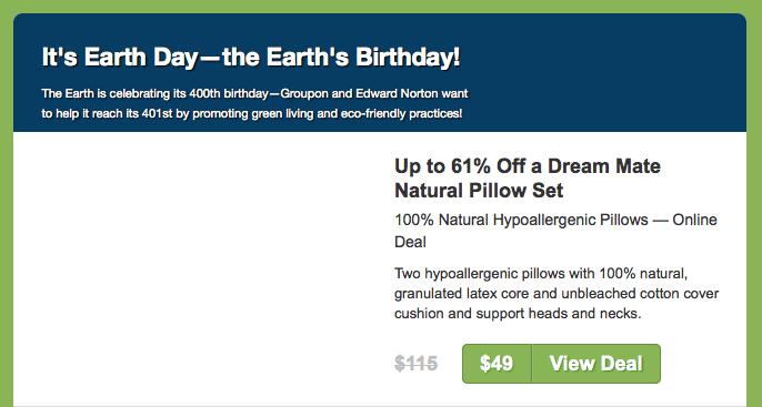 Dear Earth: Happy 400th Birthday! Love, Groupon.