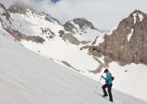 Tara Meyer climbs towards the top of Moura Pass in the Karatag Valley. Photo courtesy of the author.