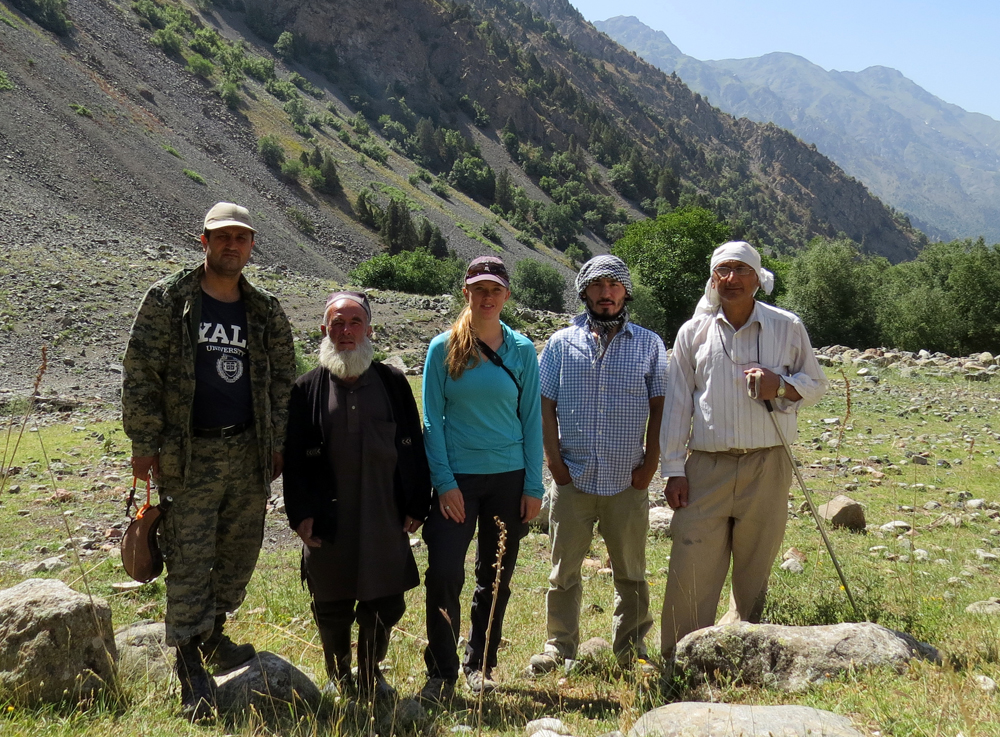 Tara Meyer and her research team prepare to collect their cameras. Photo courtesy of the author.