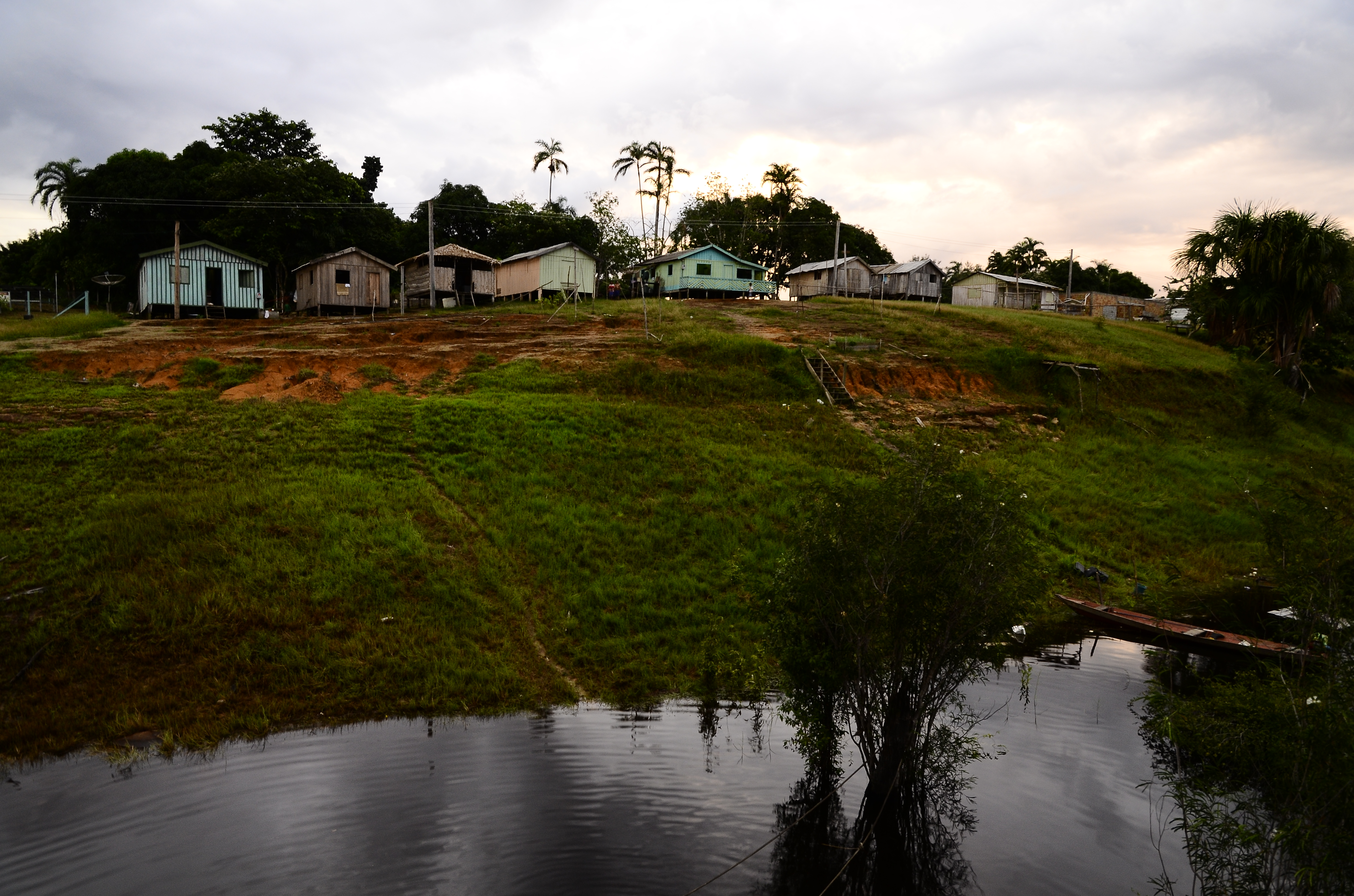 Communities are built on the highland in the Amazon.